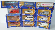 Corgi - Scale 1/36-1/43 - Lot with 12 models: 1 x Mercedes, 2x Ford Escort Van, 2 x Ford Transit, 2 x Volvo F12 Truck, 1x Falck, 1x Rolls Royce, 1x BMW 325i, 2x other
