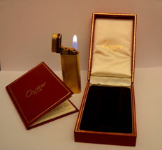 Cartier lighter, yellow gold plated with box and warranty