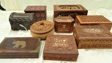 Lot of 9 wooden boxes and cases, carved, with brass and bone inlays