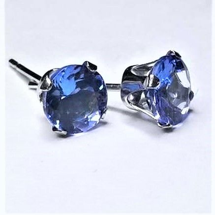 14 kt earrings with 1ct of tanzanites, diameter: approx 0.6 cm