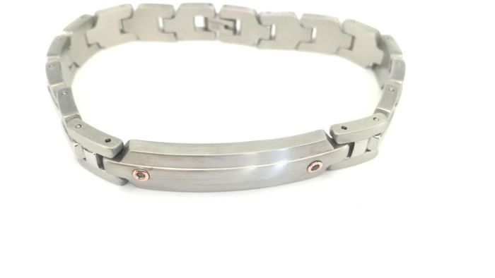 Bracelet in hypo-allergenic 316L surgical steel and 18 kt gold – 22 cm