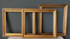 Three gilded painting / picture frame - 20th century - England.