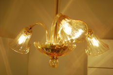 Murano crystal three light chandelier, late 20th century