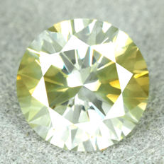 """Rare Bi-Colour"" Diamond – 0.90 ct - Natural Fancy Greenish Yellow - NO RESERVE PRICE"