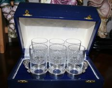 Rare sterling silver liqueur cabinet presentation stand with six cut crystal glasses, made in Italy.