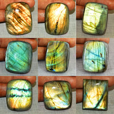 Top Flash Genuine  Labradorite Gemstones lot - 615 cts (9 pcs)