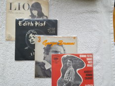 Lot of  88 Vinyl singles Chanson with Charles Aznavour, Georges Brassens and special items Jacky Delmone and Lio
