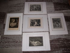 Graphic art; Lot with 5 old prints - 1871/1910