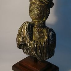 Large Bust of Guanyin - Gesso, Wood, and Gold Gilt on Wood Mount - China - later part 20th century