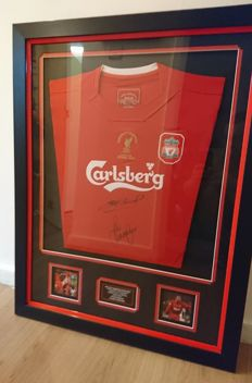 Hand signed Liverpool legends display with Coa