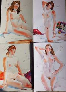 Original work; Lot of 4 Nude Paintings by Ewa L. 2017