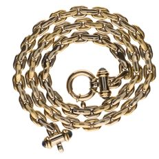 14 kt Bi-colour yellow and white gold anchor link necklace, the clasp is set with sapphire - Length: 51 cm