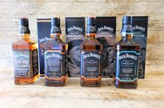 4 bottles - Jack Daniel's Red Dog Saloon 125th anniversary - Limited Edition, Master distiller edition no. 2, 3 & 4  in original boxes
