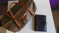 Louis Vuitton Monogram old papillon vintage & Louis Vuitton pocket agenda in black leather.