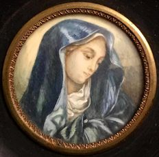 "Late 19th - Early 20th Century ,  French ,  hand painted ,  miniature  , ""The Virgin Mary """