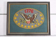 Old American Cross Stitch Canvas - Hand Made and Framed from 20th Century