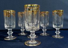 Lot of 5 cut crystal stemware glasses with gold decoration, Saint Louis - 1880, France