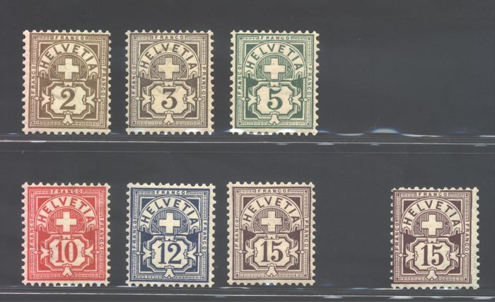 Switzerland 1905 - Amount and cross - Unificato catalogue nos. 100/05 + 105a