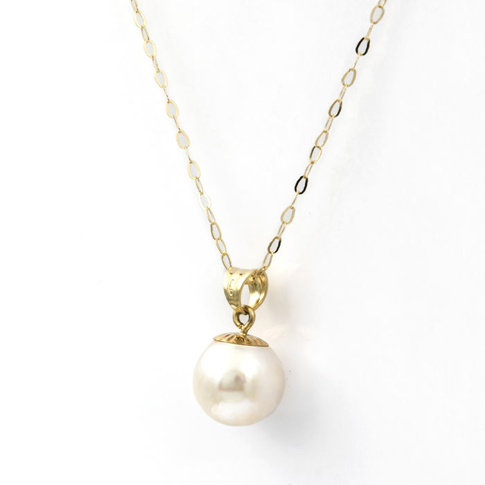 18 kt/750 yellow gold - Choker with pendant - Pearl 10.20 mm
