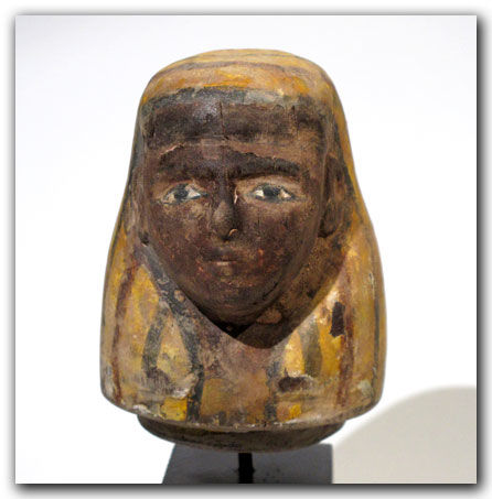 Egyptian Painted Wood Canopic Jar Lid With Head Of Imseti 95 Cm H Catawiki