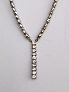 14 kt white gold link necklace with white gold pendant, set with approx. 1.80 ct diamonds G/VVS/SI