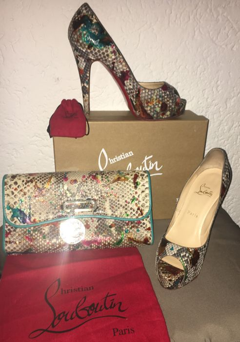 a35012f89b2 Christian Louboutin bag and shoes Limited edition - Python leather ...