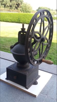 Large heavy cast-iron shop coffee grinder with wheel no. 3 - c. 1890