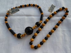 Lot of two handmade lucite necklaces by the maison Baverel