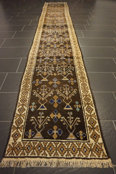Wonderful semi antique Persian carpet Gabbeh wool on wool, made by nomads, made in Iran, natural colours 75 x 435 cm