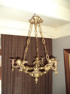 angel candle chandelier - bronze - France - circa 1900