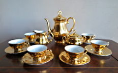 Retro 17-piece coffee set - 22 k gold-plated