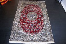 Handwoven original Persian carpet oriental Nain approx. 241 x 158cm. In great condition, Iran, cork with silk