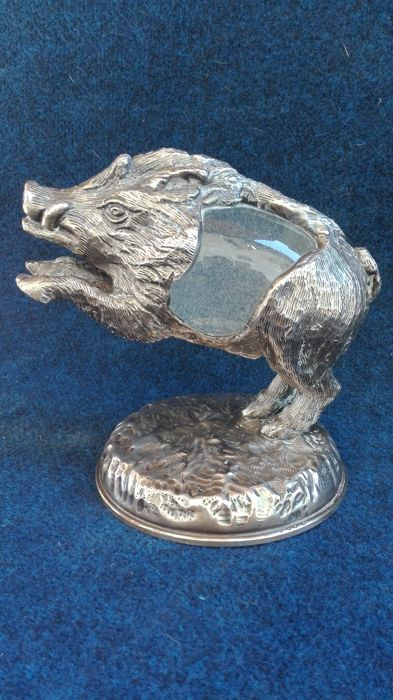 """Silver boar crafted with lost wax technique, including a hand blown glass egg by """"Rocca"""", Gabriella Crespi, Milan, 1970"""