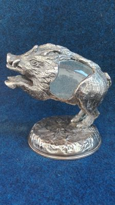 "Silver boar crafted with lost wax technique, including a hand blown glass egg by ""Rocca"", Gabriella Crespi, Milan, 1970"
