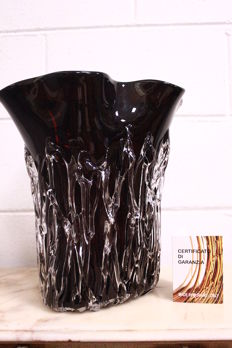 "Sergio Costantini - ""Ghiaccio nero"" vase with signature and certificate"