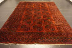 Wonderful antique handwoven Art Deco Afghan Oriental carpet 235 x 300cm Afghan, made in Afghanistan