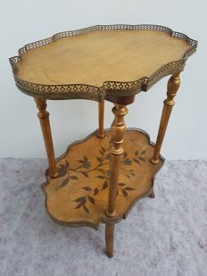 Gilt wooden tea table with floral pattern - France - ca. 1900