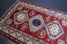 Hand-knotted original Afghan carpet oriental Ziegler Kazak approx. 143 x 97 cm. Mint condition in best condition.