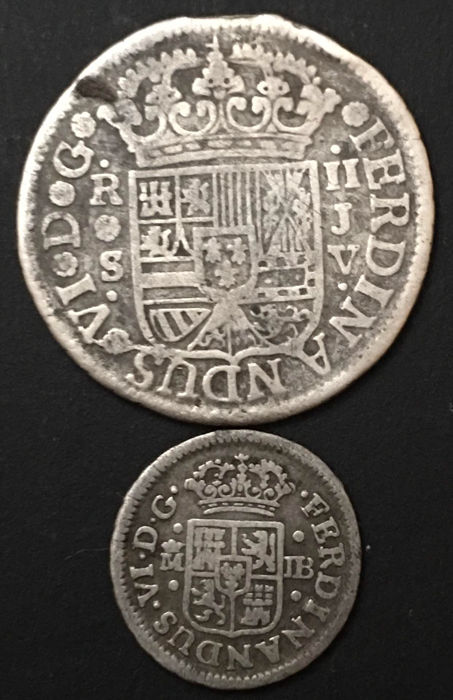 Spain - Felipe VI - Lot of two silver coins - Two reales and half real - 1758 & 1752 - Mints of Madrid and Seville