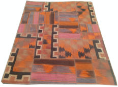 Different Pieces Hand Knotted Patchwork Kilim Rug 172 cm x 137 cm