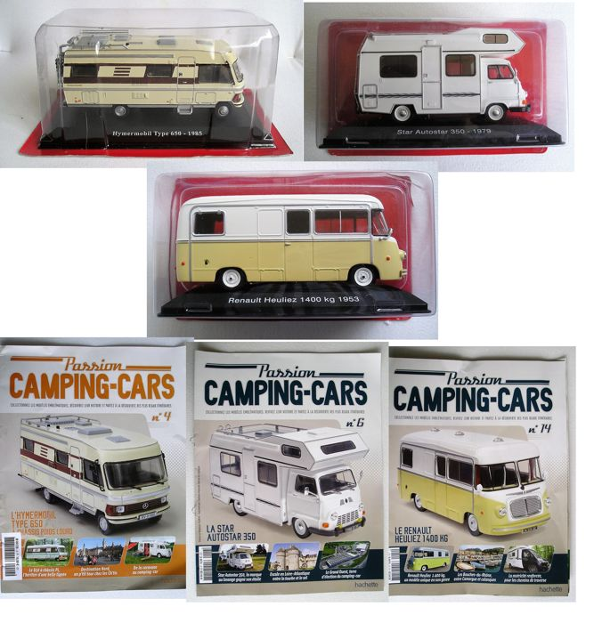 Hachette - Scale 1/43 - Lot with 3 models: 3 x Campers, Hypermobil Type 650, Star Autostar 350, Renault Heuliez 1400KG