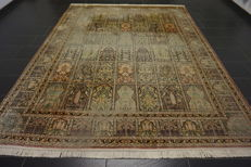 A magnificent handwoven silk carpet, Kashmir silk Qom field pattern, natural silk, 240 x 330 cm, made in Kashmir