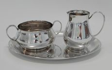 Silver plated cream set on tray, KELTUM