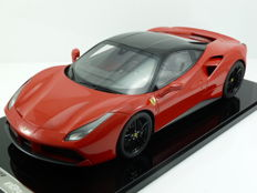 BBR - Scale 1/12 - Ferrari 488 GTB 2016 - Red Corsa 322 w/ Gloss Black Roof - Limited Edition 5 pcs