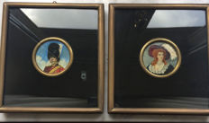 2 portrait miniatures - France - ca. 1900