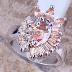 Ring with Large Morganites. Thick Silver 925 ct, Morganite is 6.36 carat. Natural Original design ♧No Reserve Price♧