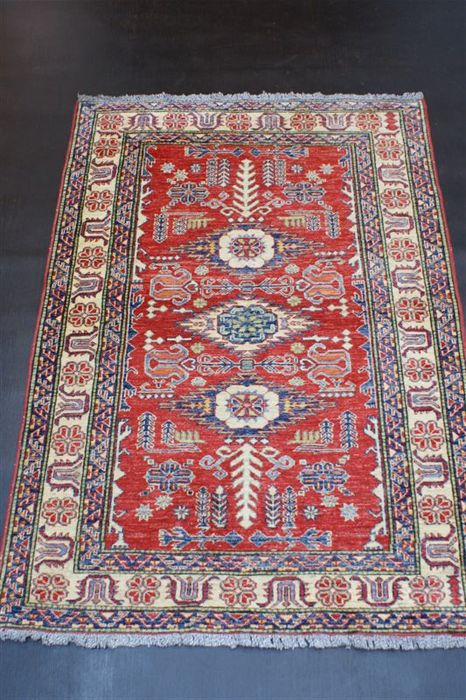 Hand-knotted original Afghan carpet oriental Ziegler Kazak approx. 169 x 117cm As good as new in best condition
