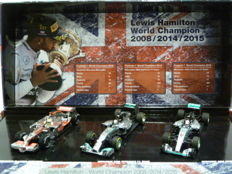 Minichamps - Scale 1/43 - Lewis Hamilton 3 x World Champion - McLaren MP4-23, Mercedes W05, & Mercedes W06