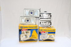 Classic Hella 450&550 Comet fog lights with covers, new old stock - 2 pair