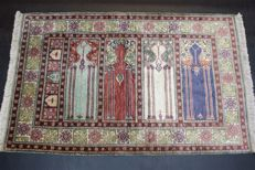 Handwoven original Turkish carpet oriental Kayseri silk on cotton approx. 132 x 85cm, never been used